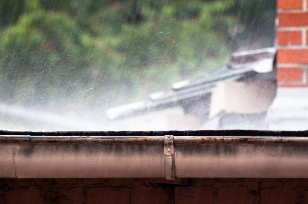 Raining on gutters